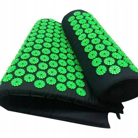 Large acupressure mat with a pillow 130x50 Green
